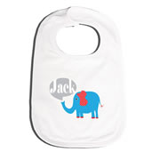 Bib Personalised for Baby - Elephant Blue