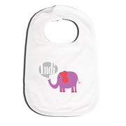 Bib Personalised for Baby - Elephant Purple