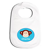Bib Personalised for Baby - Monkey Blue