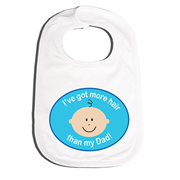 Bib Personalised for Baby - More Hair Blue