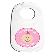 Bib Personalised for Baby - More Hair Pink