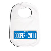 Bib Personalised for Baby - Number Plate Blue