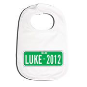 Bib Personalised for Baby - Number Plate Green