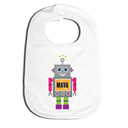 Bib Personalised for Baby - Pink Robot
