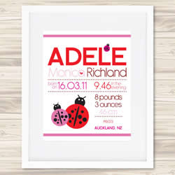 Personalised Wall Art Print - Baby Birth Details Print - Adele