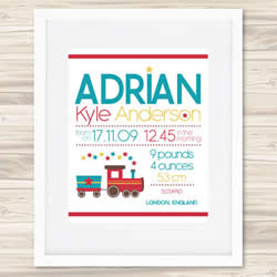 Personalised Wall Art Print - Baby Birth Details Print - Adrian