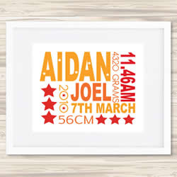Personalised Wall Art Print - Baby Birth Details Print - Aidan
