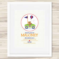 Personalised Wall Art Print - Baby Birth Details Print - Aiden