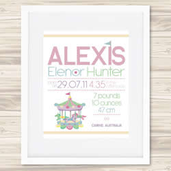Personalised Wall Art Print - Baby Birth Details Print - Alexis