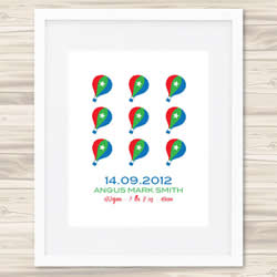 Personalised Wall Art Print - Baby Birth Details Print - Angus