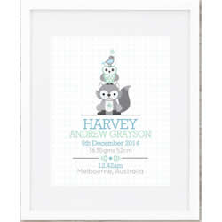 Personalised Wall Art Print - Baby Birth Details Print - Animal Stack Boys