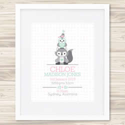 Personalised Wall Art Print - Baby Birth Details Print - Animal Stack Girls