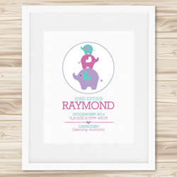 Personalised Wall Art Print - Baby Birth Details Print - Anjie