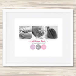 Personalised Wall Art Print - Baby Birth Details Print - April