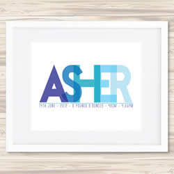 Personalised Wall Art Print - Baby Birth Details Print - Asher