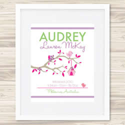 Personalised Wall Art Print - Baby Birth Details Print - Audrey