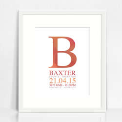 Personalised Wall Art Print - Baby Birth Details Print - Baxter Watercolour