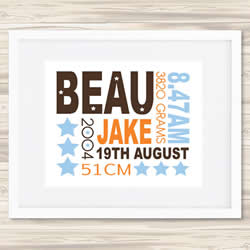 Personalised Wall Art Print - Baby Birth Details Print - Beau