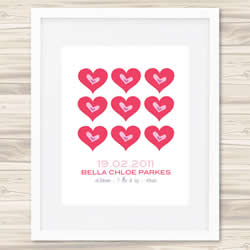 Personalised Wall Art Print - Baby Birth Details Print - Bella