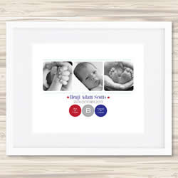 Personalised Wall Art Print - Baby Birth Details Print - Benji