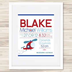 Personalised Wall Art Print - Baby Birth Details Print - Blake