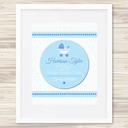 Personalised Wall Art Print - Baby Birth Details Print - Boys 3D Blue