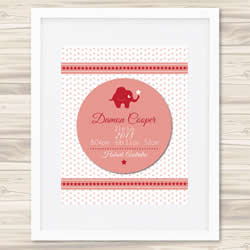 Personalised Wall Art Print - Baby Birth Details Print - Boys 3D Red