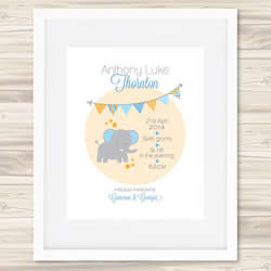 Personalised Wall Art Print - Baby Birth Details Print - Bunting Anthony