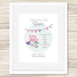 Personalised Wall Art Print - Baby Birth Details Print - Bunting Jasmine