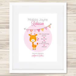 Personalised Wall Art Print - Baby Birth Details Print - Bunting Matilda