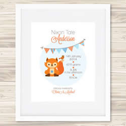 Personalised Wall Art Print - Baby Birth Details Print - Bunting Nixon