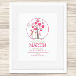 Personalised Wall Art Print - Baby Birth Details Print - Cassie