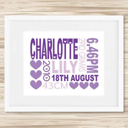 Personalised Wall Art Print - Baby Birth Details Print - Charlotte