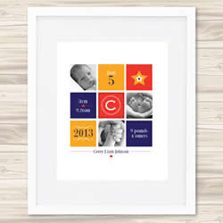 Personalised Wall Art Print - Baby Birth Details Print - Corey