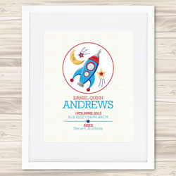 Personalised Wall Art Print - Baby Birth Details Print - Daniel