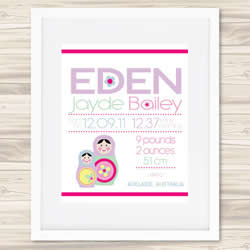 Personalised Wall Art Print - Baby Birth Details Print - Eden
