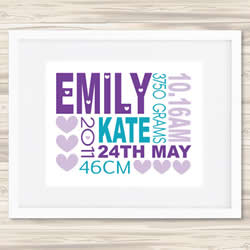 Personalised Wall Art Print - Baby Birth Details Print - Emily