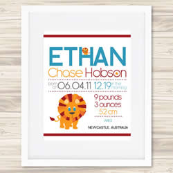 Personalised Wall Art Print - Baby Birth Details Print - Ethan