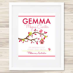 Personalised Wall Art Print - Baby Birth Details Print - Gemma