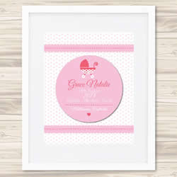 Personalised Wall Art Print - Baby Birth Details Print - Girls 3D Pink