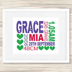 Personalised Wall Art Print - Baby Birth Details Print - Grace 2
