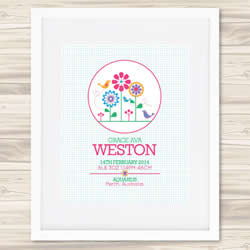 Personalised Wall Art Print - Baby Birth Details Print - Grace