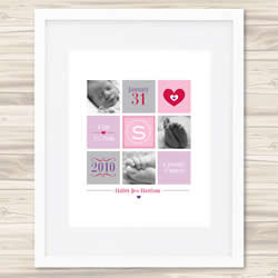 Personalised Wall Art Print - Baby Birth Details Print - Hailey