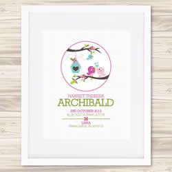 Personalised Wall Art Print - Baby Birth Details Print - Harriet