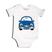 Blue Car - Bodysuit Personalised for Baby