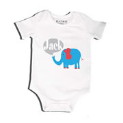 Elephant Blue - Bodysuit Personalised for Baby