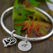 Handstamped Personalised Bracelet - Eternity Bangle with Mother and Child