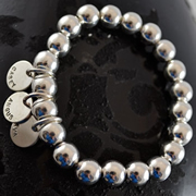 Handstamped Personalised Bracelet - Silver Ball Large with 1 Medium Pendant