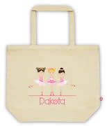 Carry Bag / Canvas Tote Bag Personalised for kids  - Ballerinas