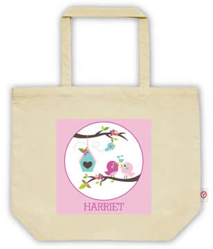 Carry Bag / Canvas Tote Bag Personalised for kids  - Birdhouse